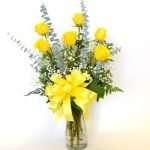 6 yellow roses in vase