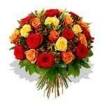 35 orange and yellow  roses