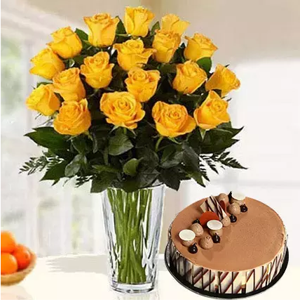 Roses In A vase and chocoaltes