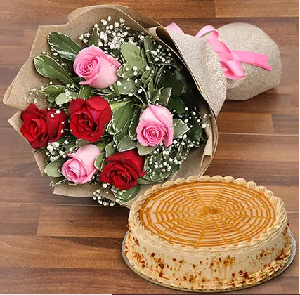 Combo of Cake and Roses