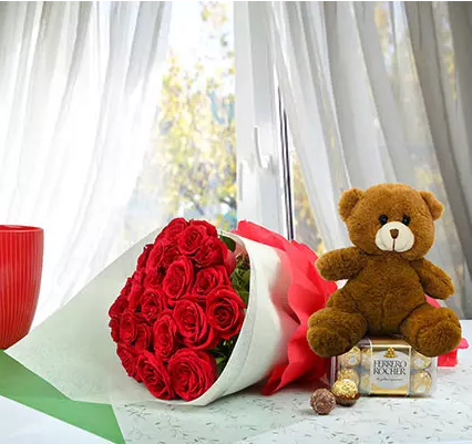 2 Dozen Roses with chocolate and teddy